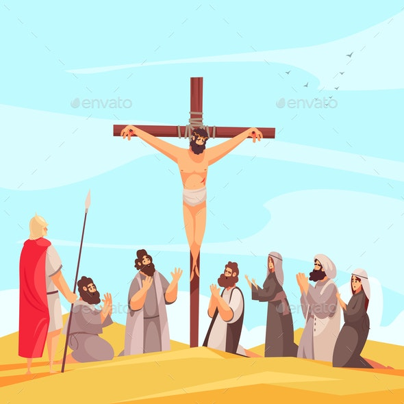 Jesus Crucifix Narrative Composition - Religion Conceptual