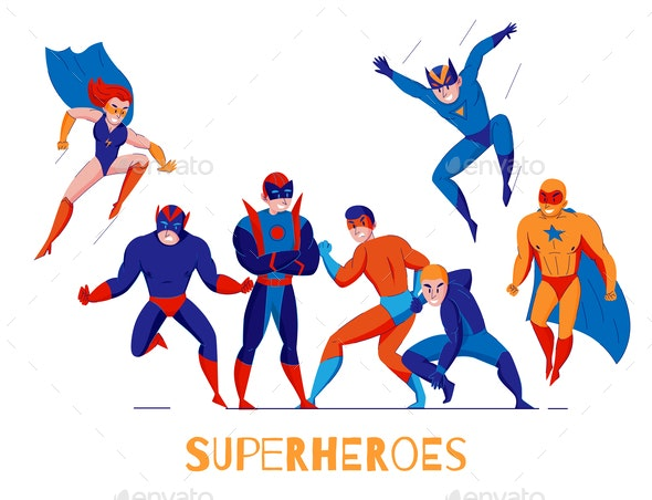 Superheroes Comics Characters Poster - Miscellaneous Vectors