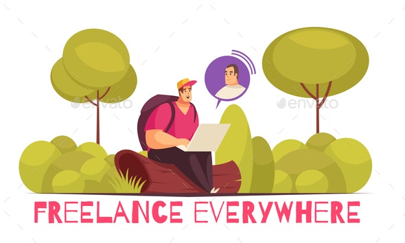 Freelance Remote Work Composition - Flowers & Plants Nature