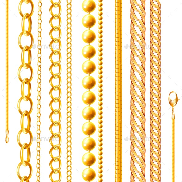 Realistic Golden Chains Set - Man-made Objects Objects