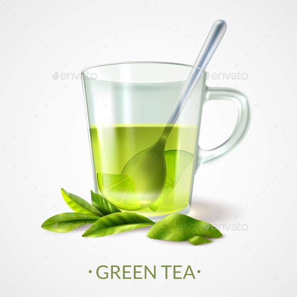 Green Tea Cup Composition - Food Objects