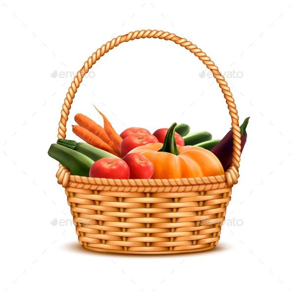 Wicker Basket Vegetables Realistic - Food Objects