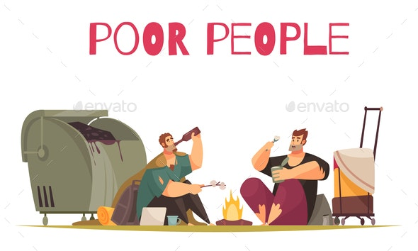Poor People Food Composition - People Characters