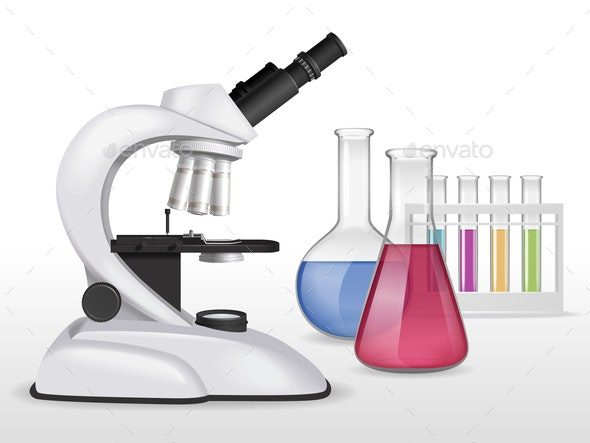 Chemical Lab Microscope Composition - Miscellaneous Vectors