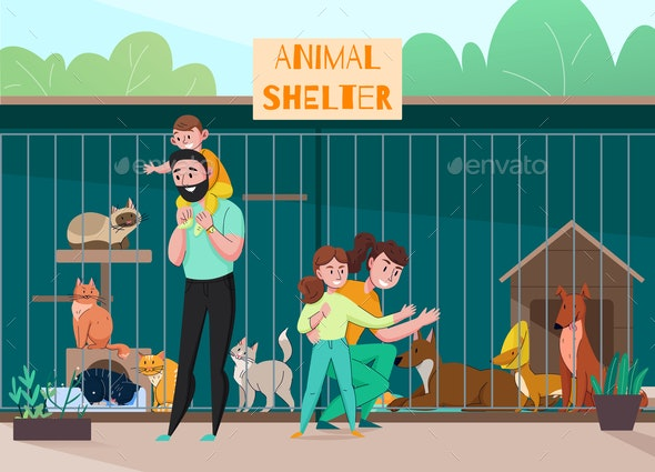 Family Animal Shelter Composition - Animals Characters