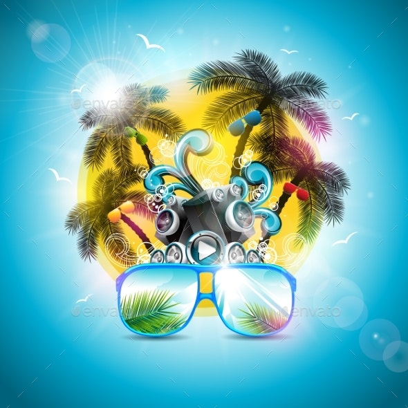 9c90eb86ed7 Summer Holiday Design with Speaker and Sunglasses