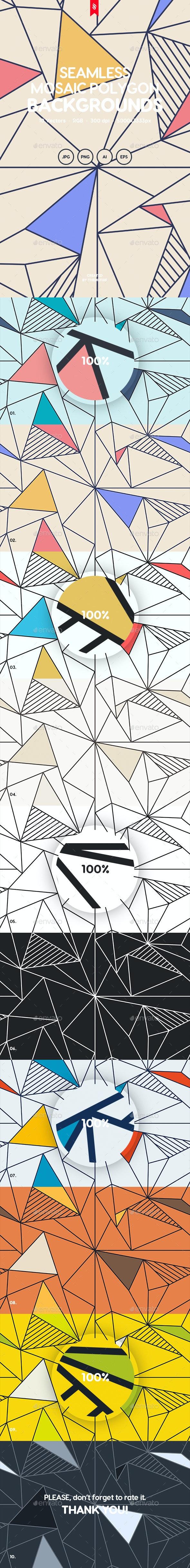Colorful Mosaic Polygon Seamless Patterns - Patterns Backgrounds