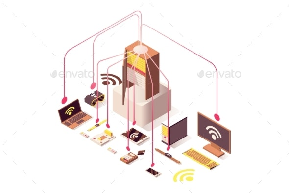 Internet Server Vector Isometric Illustration - Computers Technology