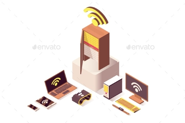 Cloud Computing Vector Isometric Illustration - Computers Technology
