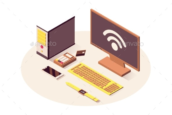 IOT Technology Vector Isometric Illustration - Computers Technology