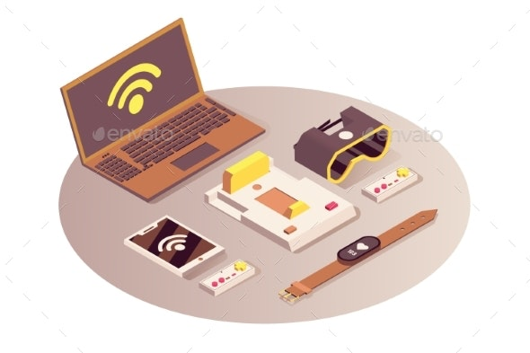 Internet of Things Vector Isometric Illustration - Computers Technology
