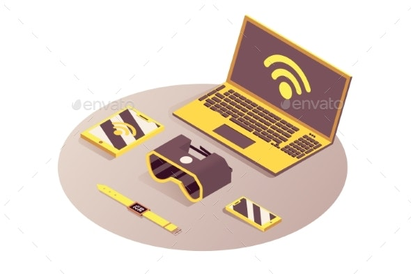 IOT Portable Devices Vector Isometric - Man-made Objects Objects