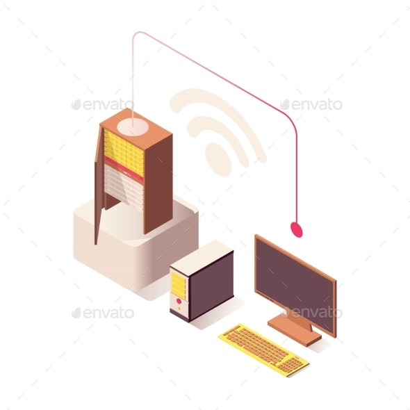 Wifi Wireless Connection Vector Isometric - Computers Technology