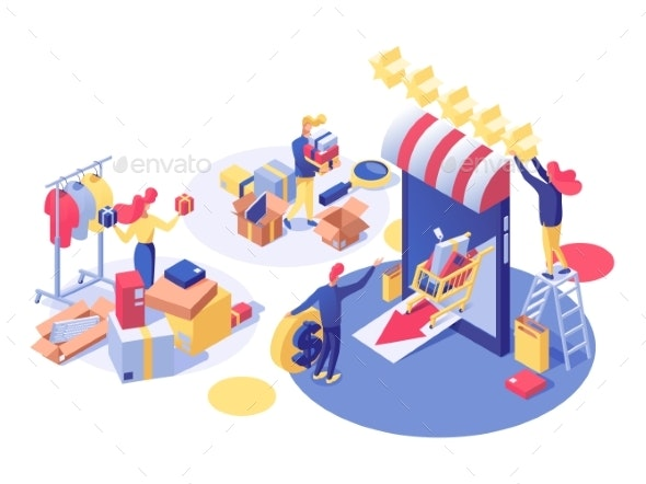 E-Commerce and Shopping Vector Isometric - Web Technology