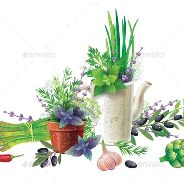 Still Life with Aromatic Herbs in Pots
