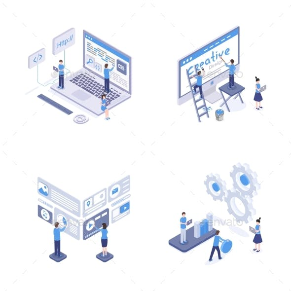 Programming and Coding Isometric Illustrations Set