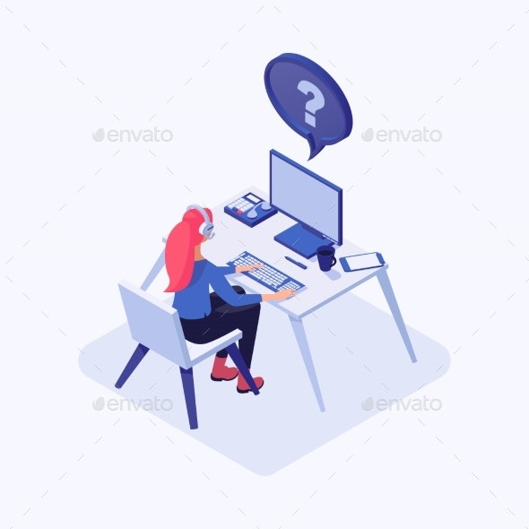 Hotline Operator Isometric Color Illustration - People Characters