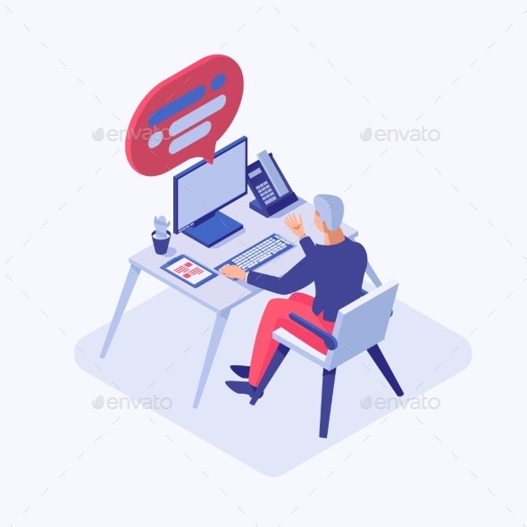 Customer Support Operator Isometric Illustration - People Characters
