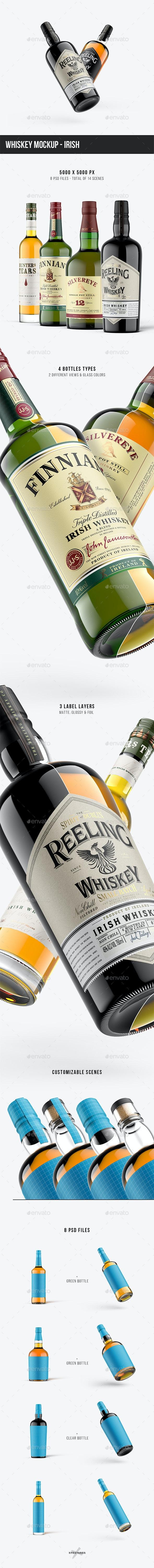 Whiskey Mockup - Irish - Food and Drink Packaging