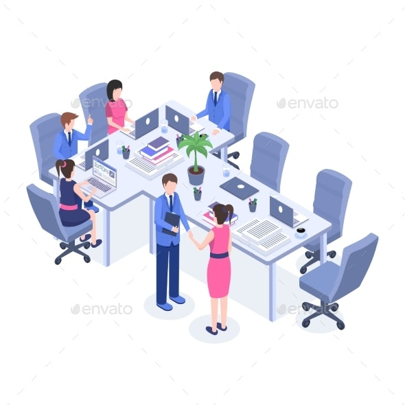 Teamwork Vector Color Isometric Illustration - People Characters