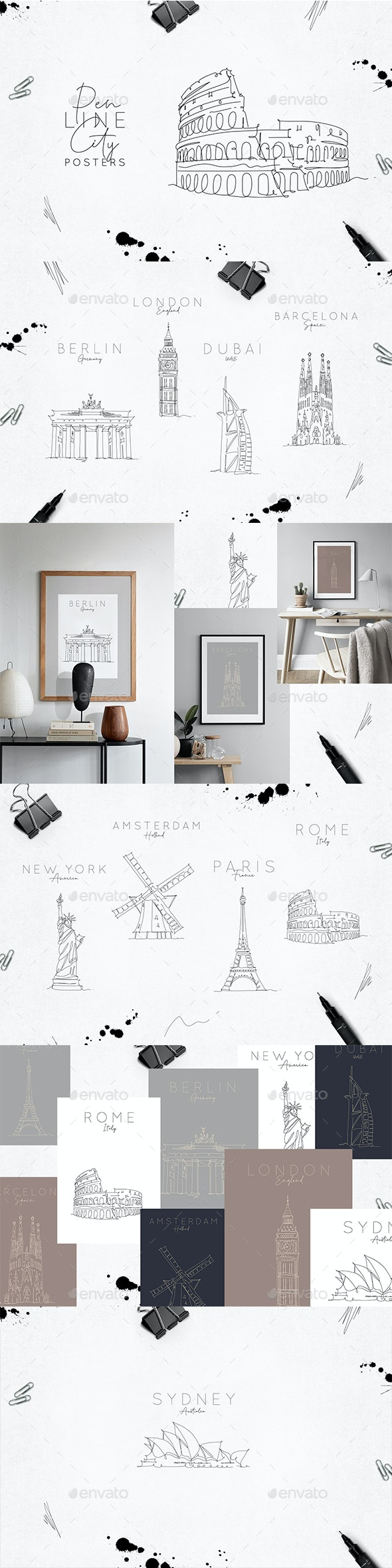 Pen Line City Posters - Buildings Objects