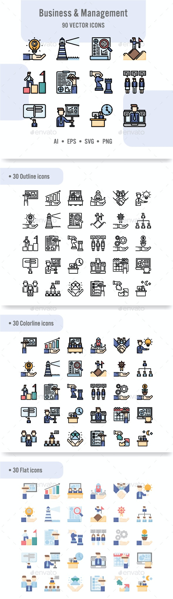 Business and Management Icon Set - Business Icons