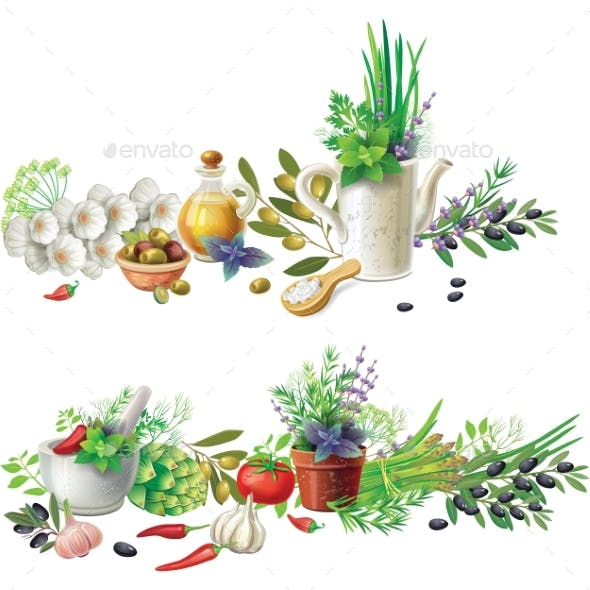 Banners with Aromatic Herbs in Pots and Vegetables