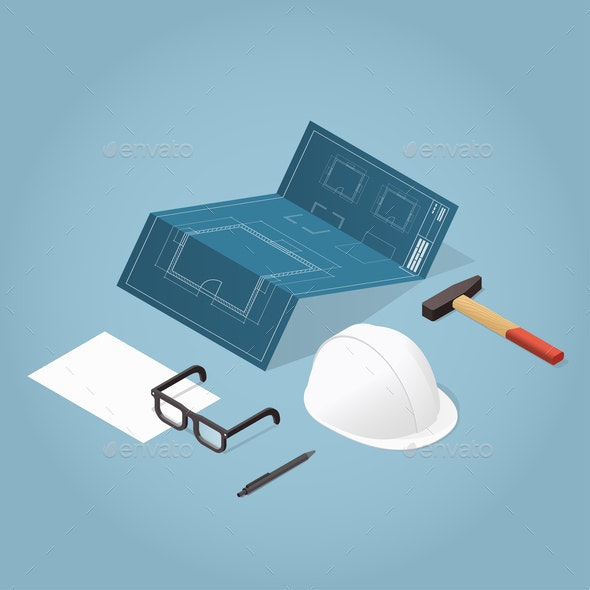 Isometric House Construction Illustration - Industries Business