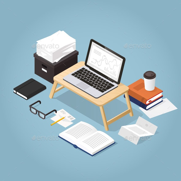 Work From Home Isometric Illustration - Concepts Business