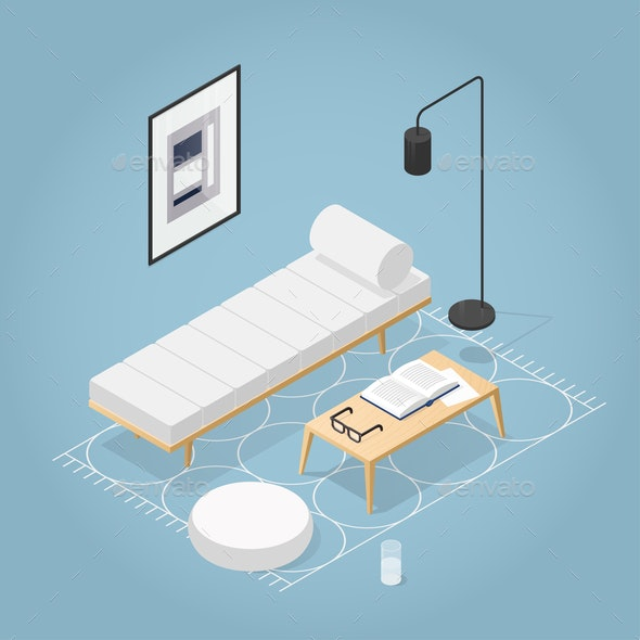 Isometric Room Interior Illustration - Man-made Objects Objects