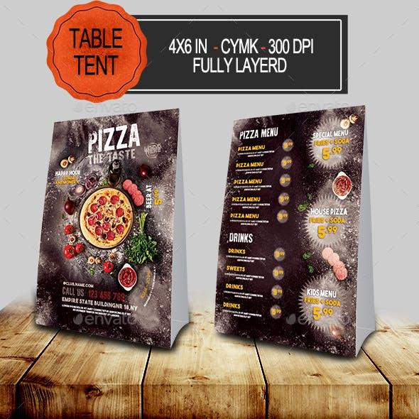 Pizza Menu Table Tent