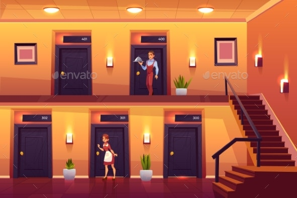 Hotel Staff Housemaid and Waiter Service Clients - People Characters