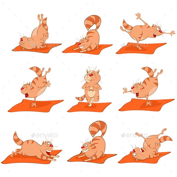 Set of Vector Cartoon Illustrations Essential Yoga Poses for Cats.