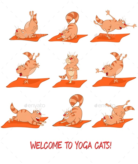 Set Of Vector Cartoon Illustrations Essential Yoga Poses For Cats By Liusa