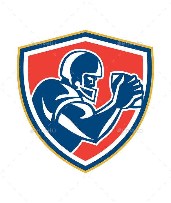 American Football Player Ball Side Shield - Sports/Activity Conceptual