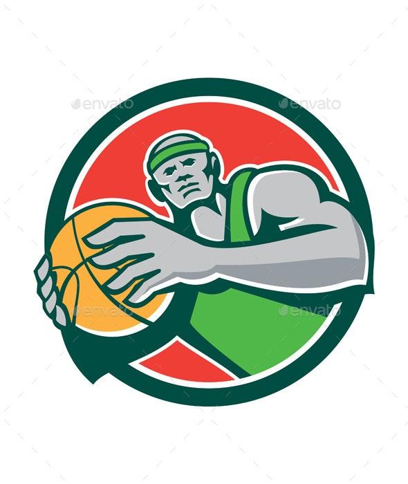 Basketball Player Holding Ball Circle Retro - Sports/Activity Conceptual