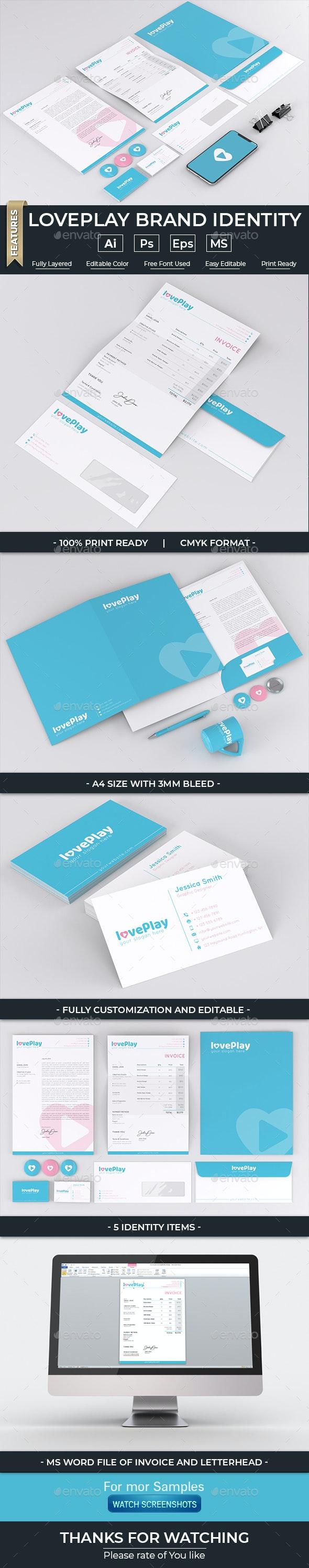 Loveplay Brand Identity - Stationery Print Templates