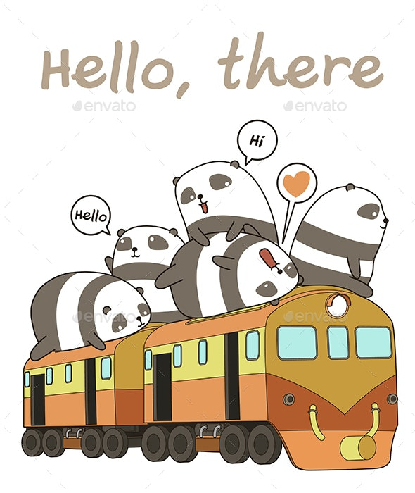 Seamless Pandas Train Pattern - Animals Characters