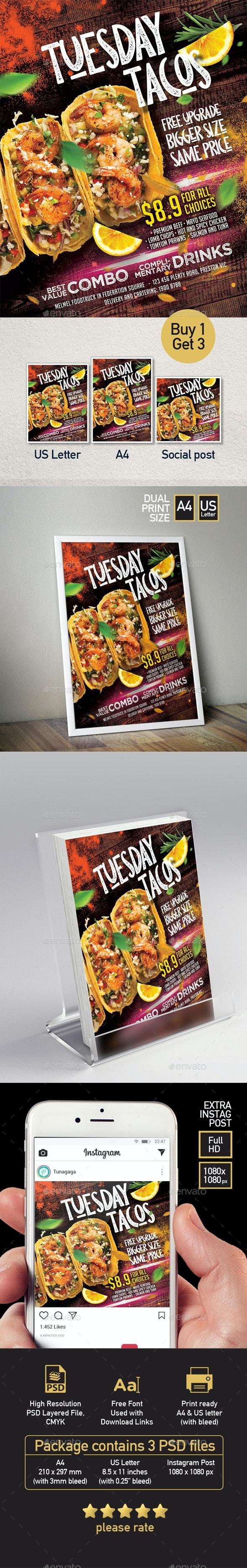 Tacos Mexico Restaurant Flyer - Set of 3 Templates - Restaurant Flyers
