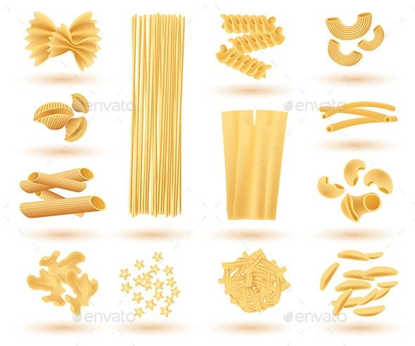 Isolated Set of Italian Pasta - Food Objects