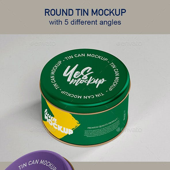Round Tin Case Mockup with 5 Smart Object PSD
