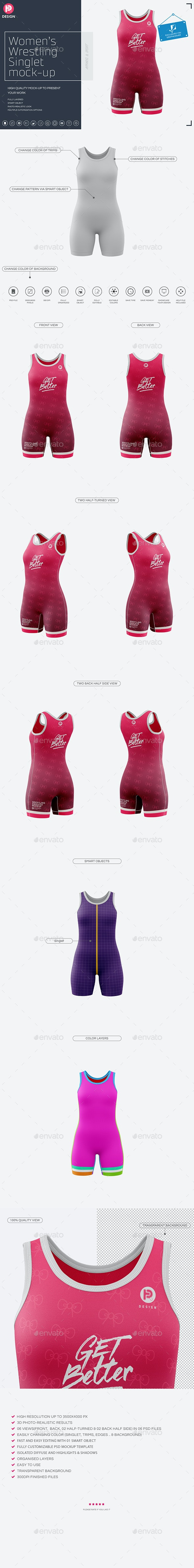 Women's Wrestling Singlet Mockup - Miscellaneous Product Mock-Ups