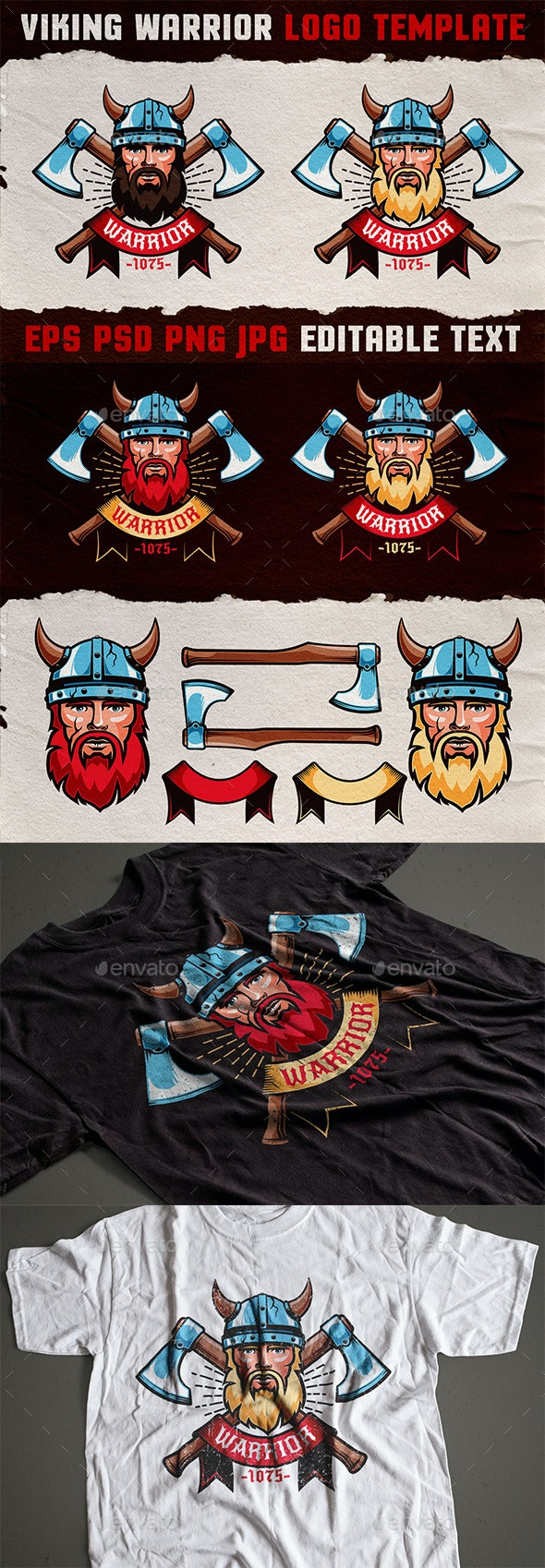 Viking Warrior Emblem Colored Template - Miscellaneous Vectors