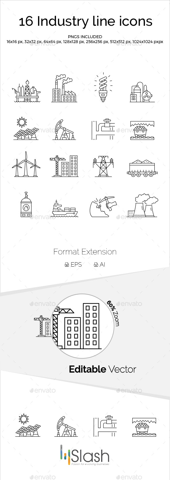 Industry Line Icons - Industries Business