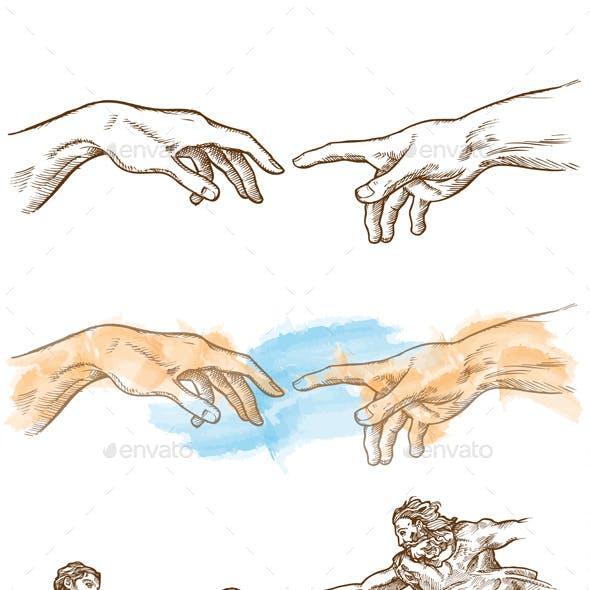 Creation Of Adam Hand Drawn. Vetcor Illustration