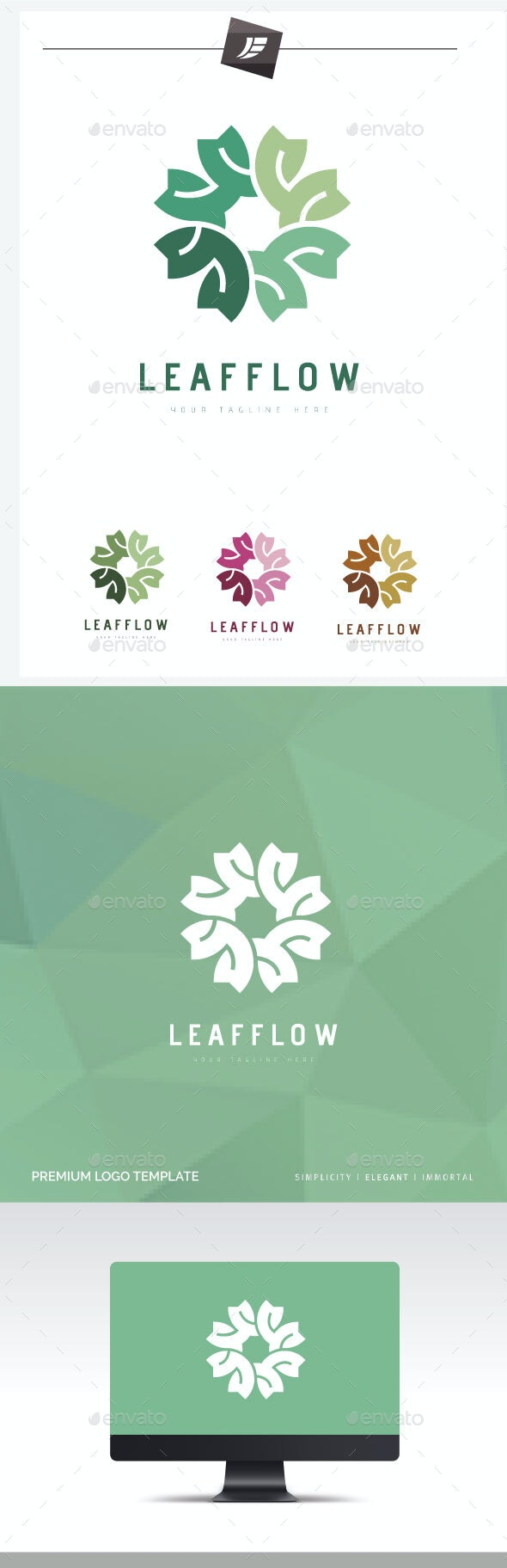 Leaf Flow Logo - Symbols Logo Templates