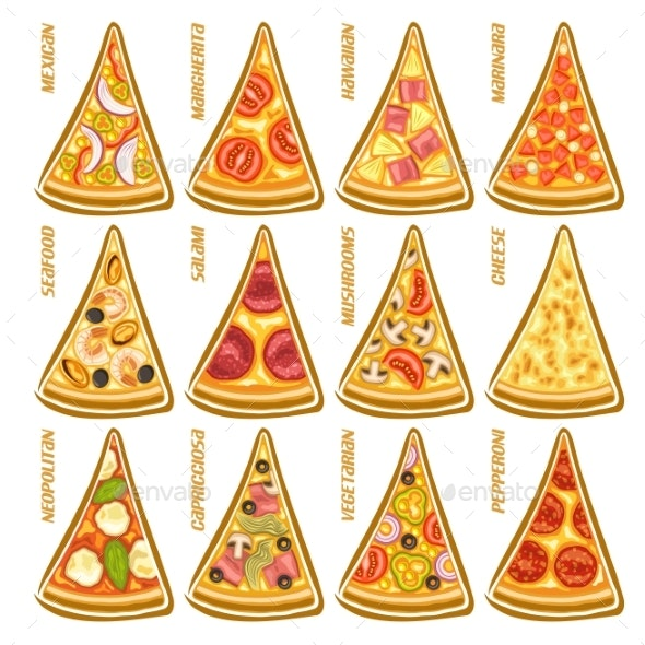 Vector Set Slices of Pizza - Food Objects