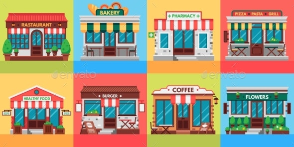 Restaurants and Shops Facades. Old Shop Building - Buildings Objects