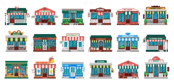 Shops Facades. Laundry Building, Hardware Store - Buildings Objects