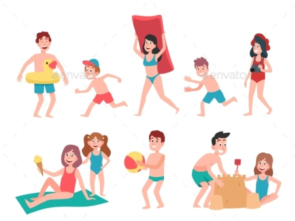Kids Playing at Beach. Summer Holiday Vacation - People Characters